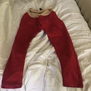 Red skinny maternity pants